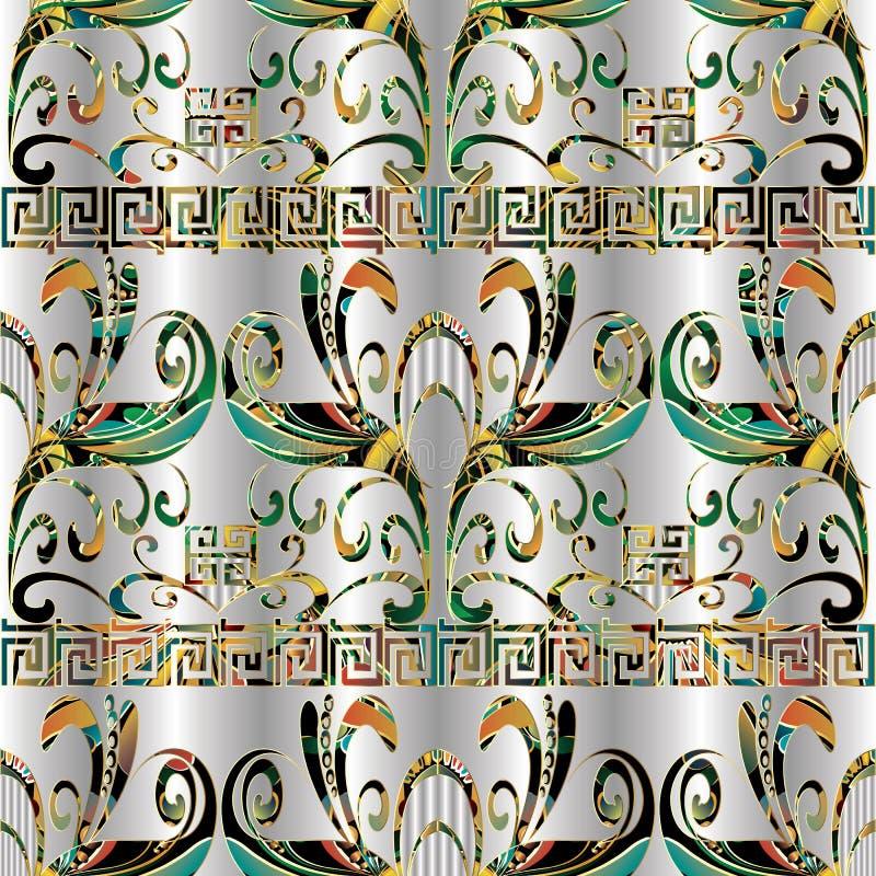 河曲花卉五颜六色的无缝的样式 传染媒介几何后面 库存例证