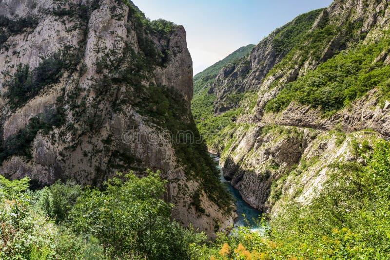 河流动在峡谷中的Moraca的最纯净的水 库存照片