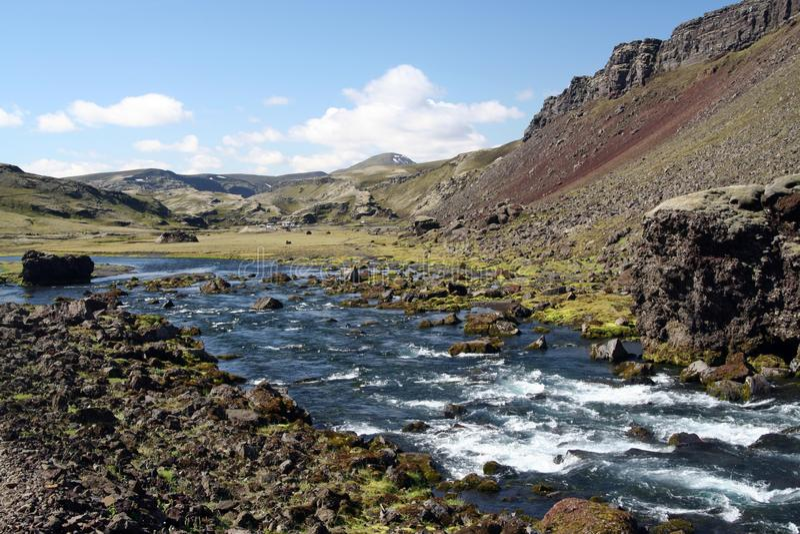 河流经的干燥贫瘠风景,冰岛 免版税库存图片