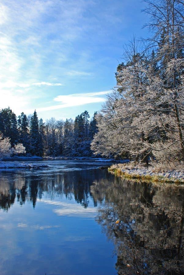 河瑞典冬天 图库摄影