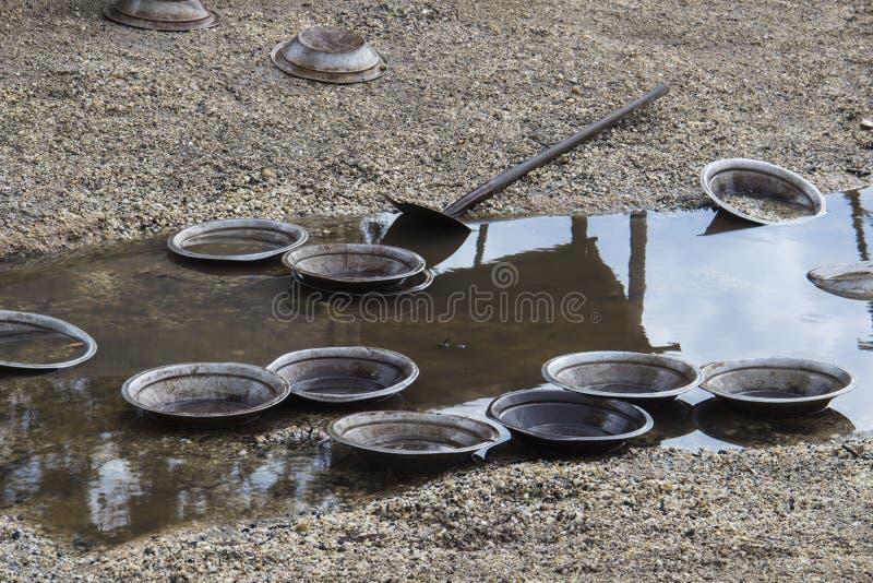 河的探油矿者的平底锅。 被用于搜寻在河的石头的冲积金子的这是平底锅。 图库摄影
