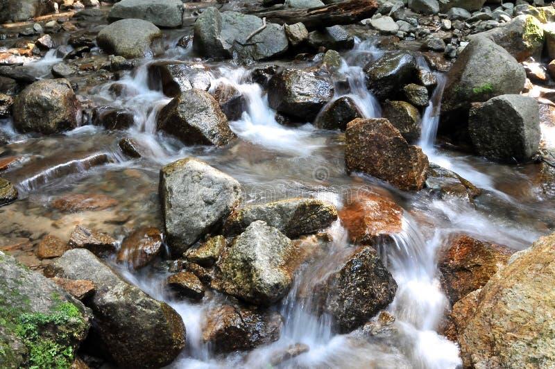 河的流动的水在小田喜Medaki瀑布之外的在中山道路 图库摄影