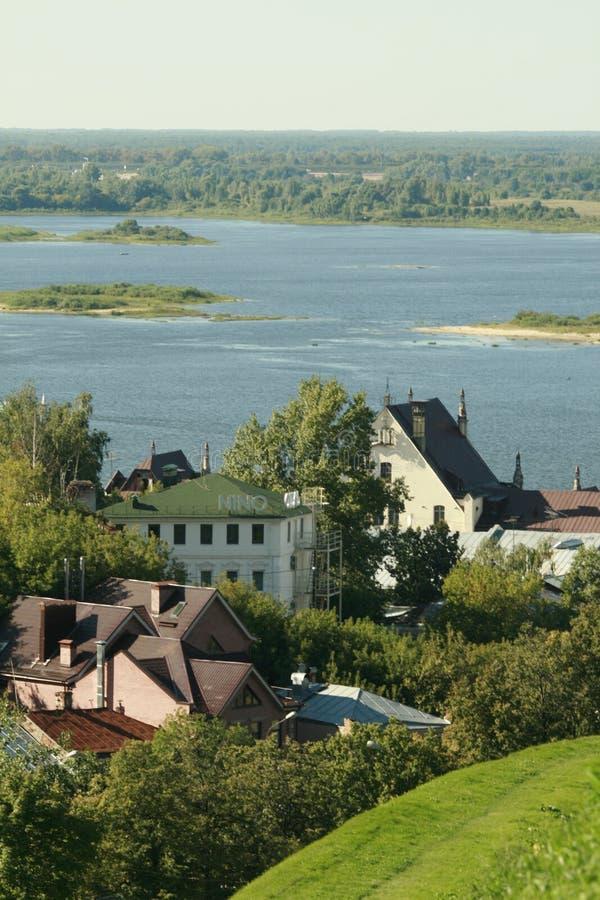 河的Oka城市 免版税图库摄影