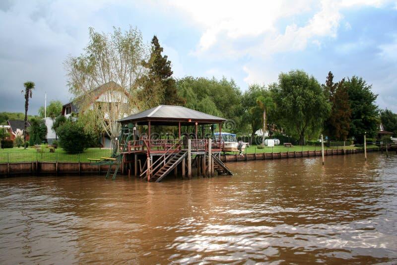 河的Wooned建筑 Tigre镇(布宜诺斯艾利斯) 免版税库存照片