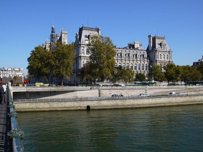 河色那和HÃ'thÃ'tel de la ville在背景中 库存照片