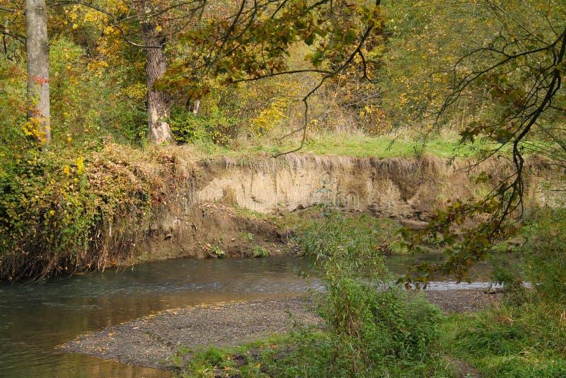 河被破坏的河岸  免版税库存图片