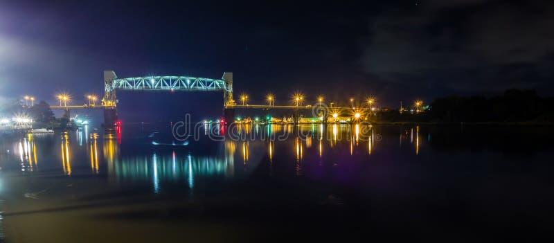 河边区委员会步行场面在威明顿nc在晚上 免版税库存照片