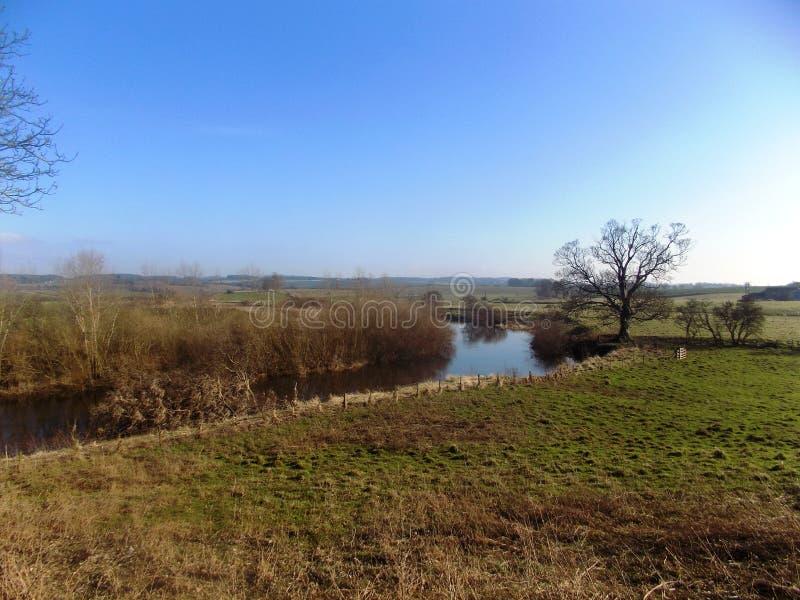 河风景,诺森伯兰角,英国 免版税图库摄影