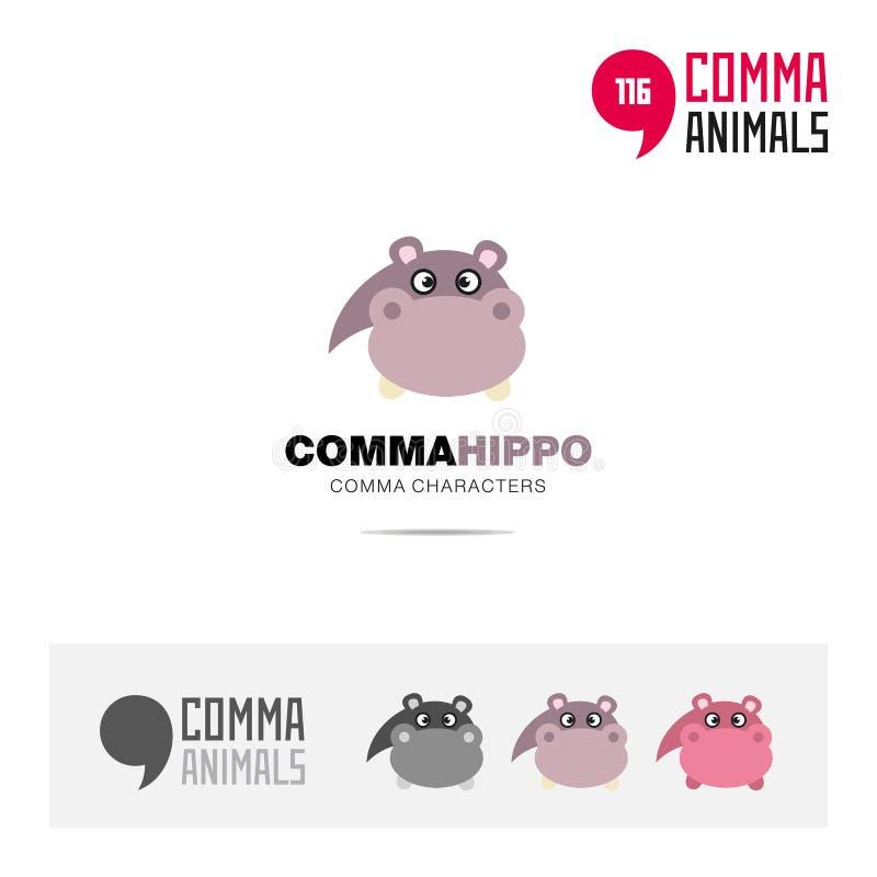 河马动物概念象集合和现代品牌身份商标模板和根据逗号的app标志签字 向量例证