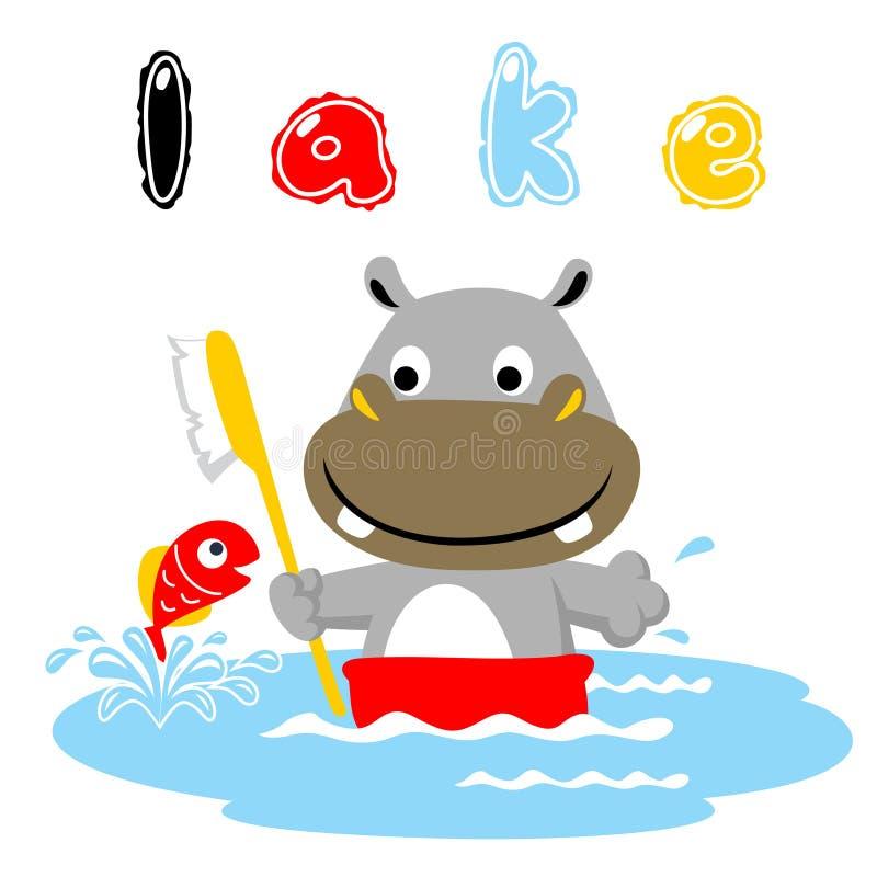 河马动画片与一条小的鱼的浴时间 皇族释放例证