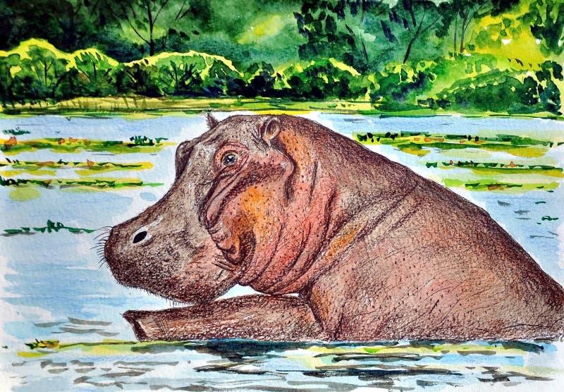 河马游泳在河 绘 天真艺术 抽象派 绘画树胶水彩画颜料,在纸的颜色铅笔 皇族释放例证