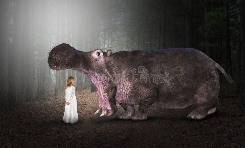河马,河马,自然,野生生物,女孩 免版税库存图片