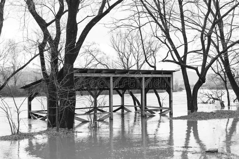 河,在阵雨从岸出来后 免版税库存图片