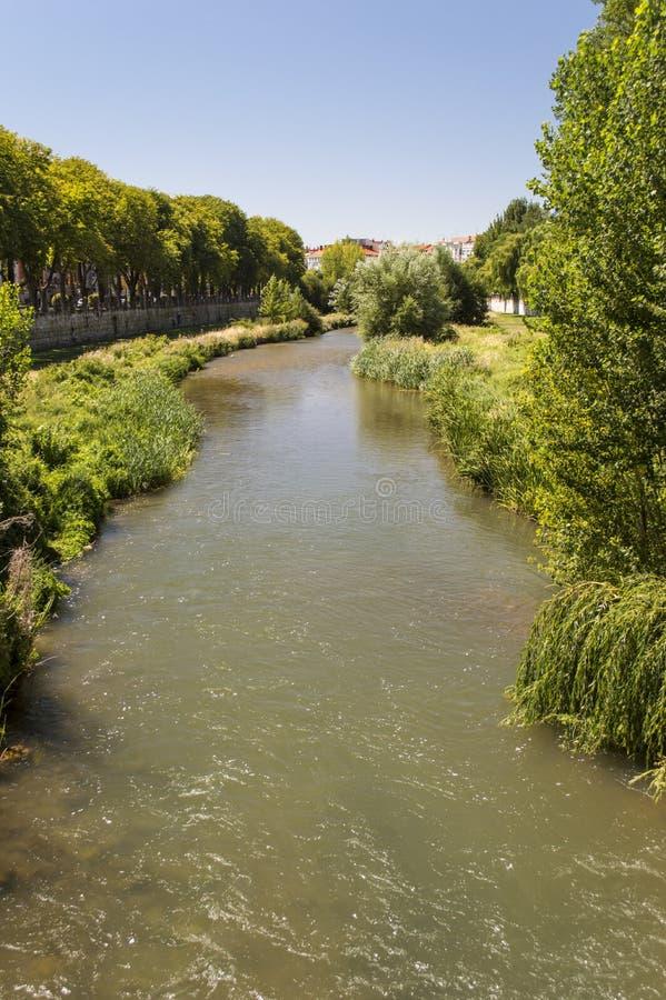 河Arlanzon,布尔戈斯 免版税库存图片