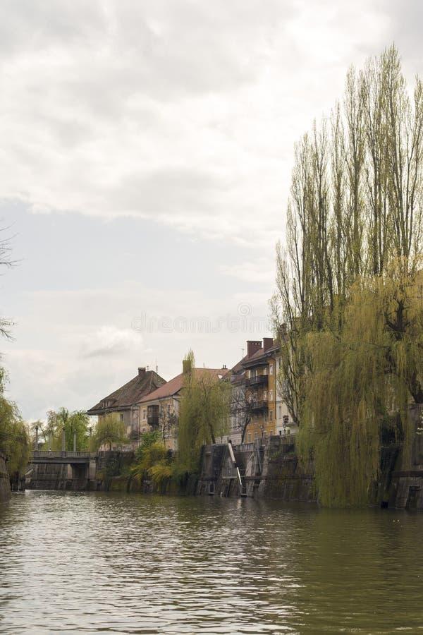 河Ljubljanica是很美丽的 库存照片