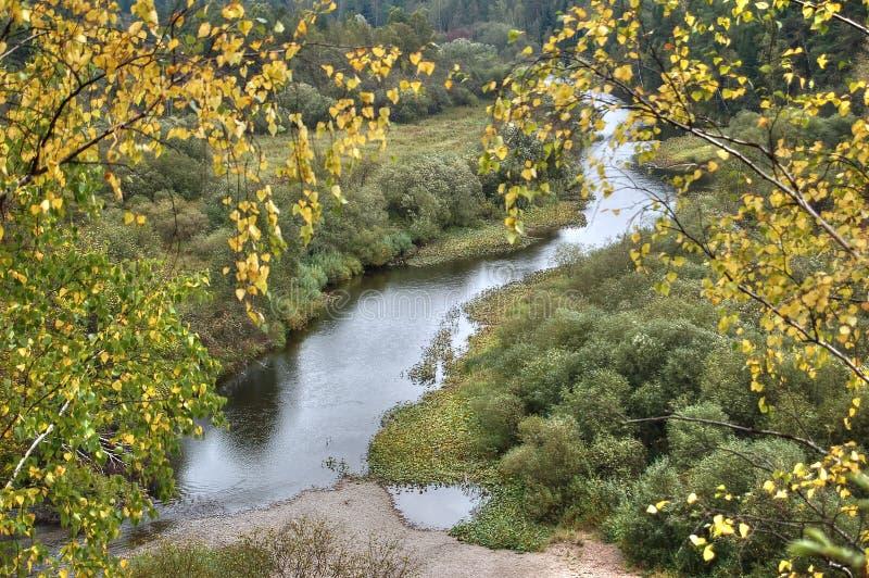 从河Serga和周围的乌拉尔taiga的沿海峭壁的看法 自然公园鹿放出斯维尔德洛夫斯克地区 免版税库存图片