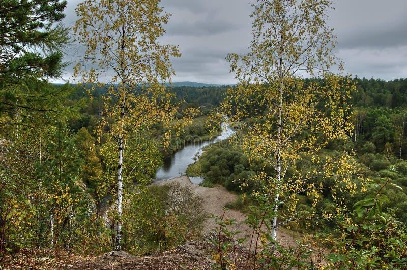 从河Serga和周围的乌拉尔taiga的沿海峭壁的看法 自然公园鹿放出斯维尔德洛夫斯克地区 库存照片