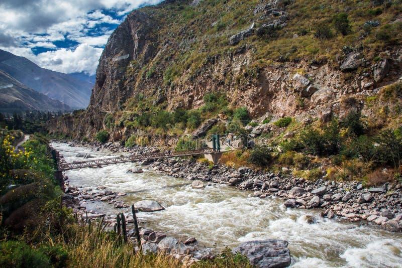 河Vilcanota -对马丘比丘的火车乘驾 免版税库存照片