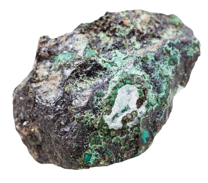 绿沸铜矿物石头片断被隔绝的 库存图片