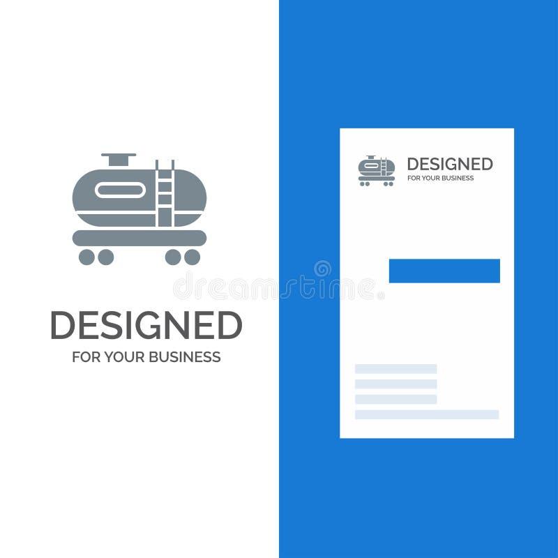 油、坦克、污染灰色商标设计和名片模板 库存例证