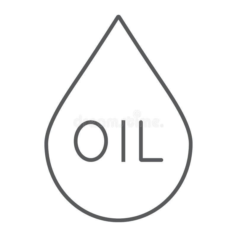 油下落稀薄的线象,燃料和液体,油小滴标志,向量图形,在白色背景的一个线性样式 向量例证