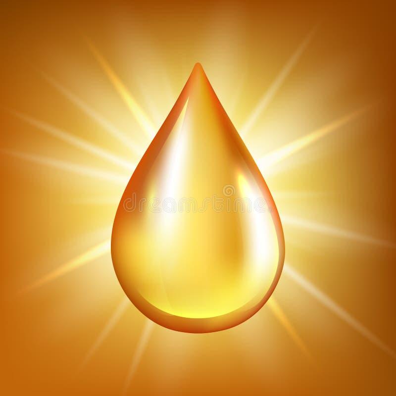 油下落 金透明液体有机水或油在光滑的反射传染媒介背景飞溅 库存例证