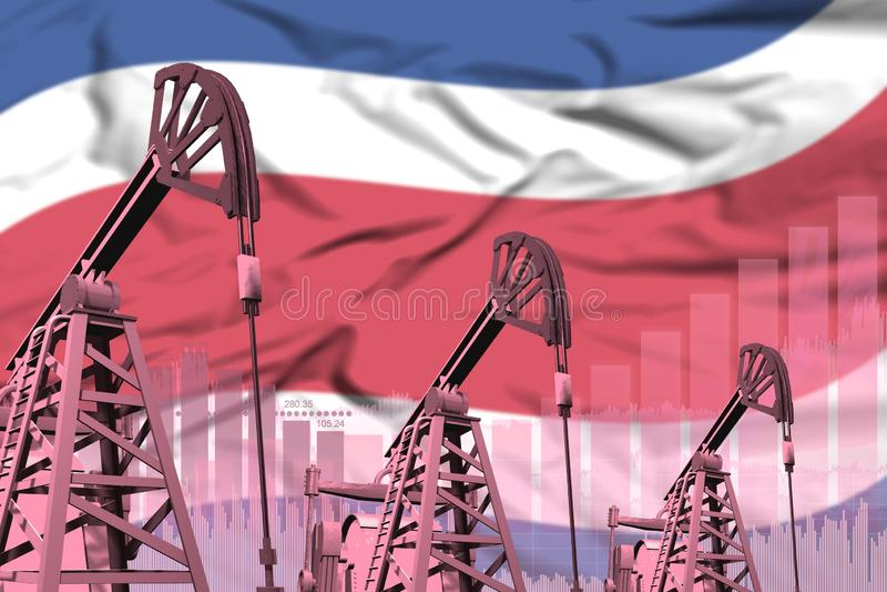 油井的工业例证-哥斯达黎加在旗子背景的石油工业概念图片