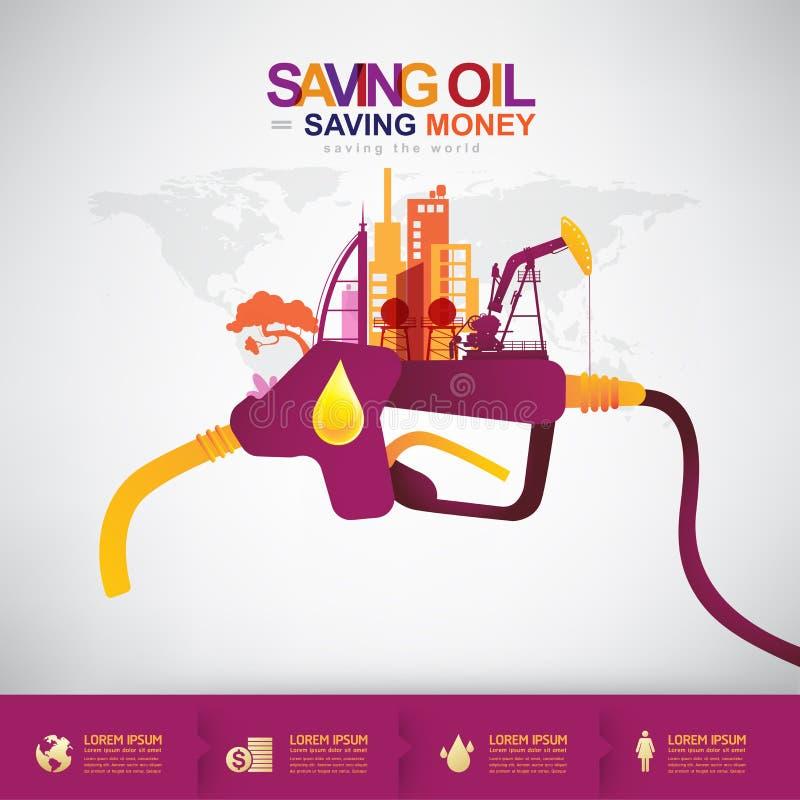 油传染媒介概念挽救油挽救金钱 库存例证