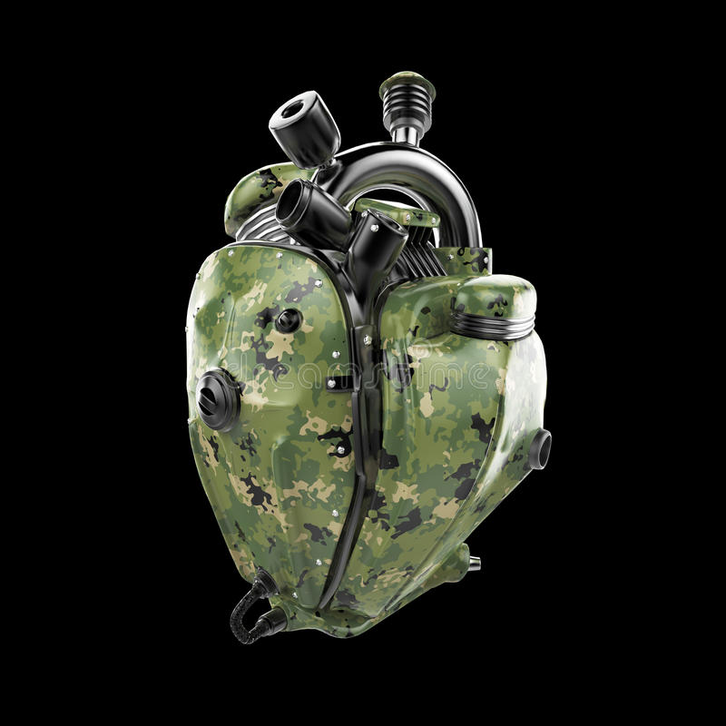 柴油低劣的军事机器人techno心脏 有管子的引擎,幅射器和伪装金属化敞篷零件 查出 免版税图库摄影