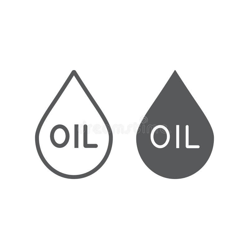 油写信和纵的沟纹象、燃料和液体,油小滴标志,向量图形,在白色背景的一个线性样式 向量例证