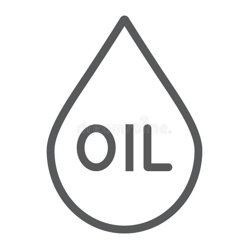 油写信象,燃料和液体,油小滴标志,向量图形,在白色背景的一个线性样式 皇族释放例证