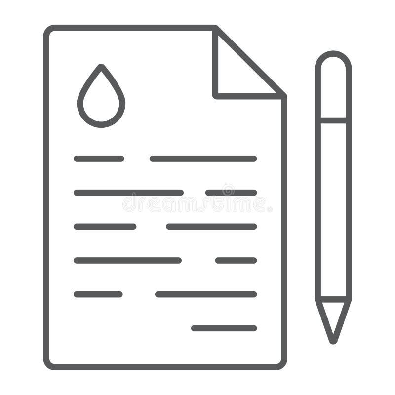 油合同稀薄的线象,成交和燃料,协议标志,向量图形,在白色背景的一个线性样式 皇族释放例证