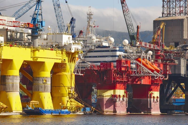 油和煤气平台在挪威 能源业 石油 库存图片