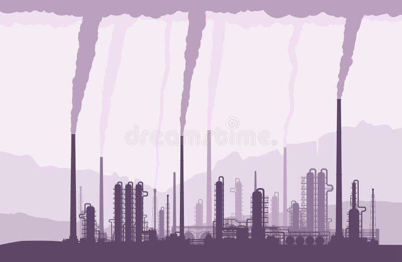 油和煤气精炼厂owith抽烟的烟囱 皇族释放例证