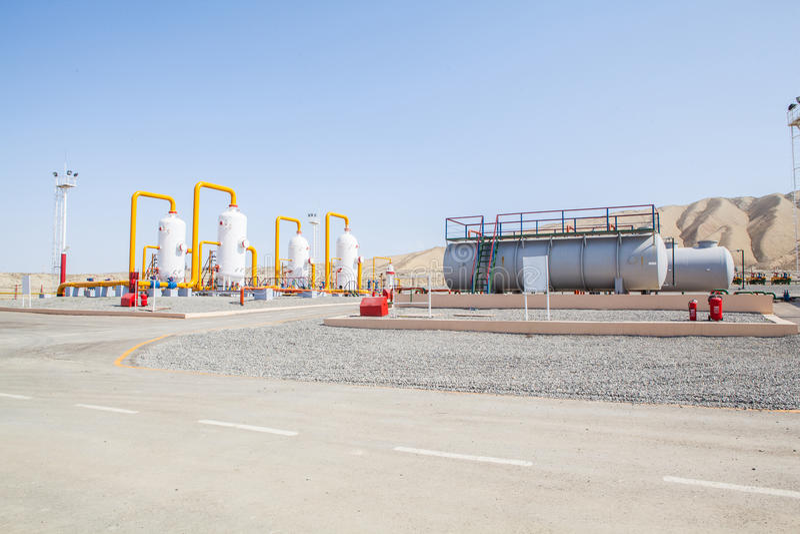 油和煤气refinator压缩机 免版税库存图片