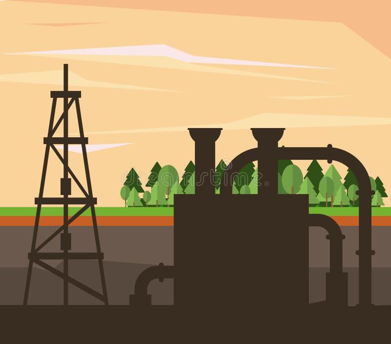 油和石油泵浦圆的象 库存例证