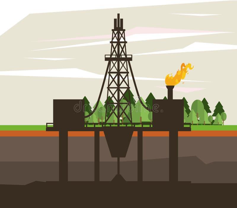 油和石油泵浦圆的象 向量例证