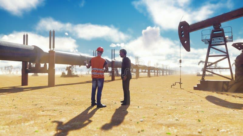 油商和商人谈话在管道附近在油泵背景的一好日子  3d翻译 向量例证