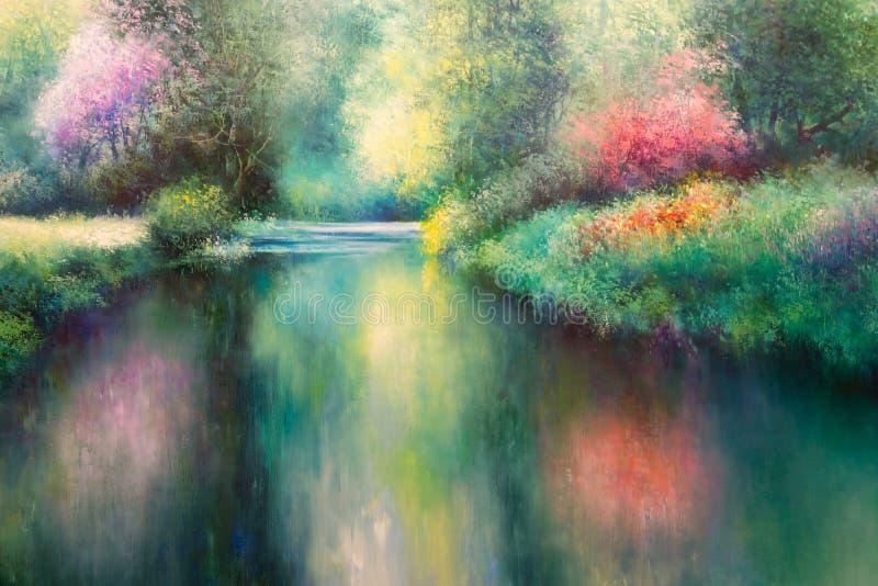 油帆布绘画:有Coloful自然、河和树的春天草甸 免版税库存照片