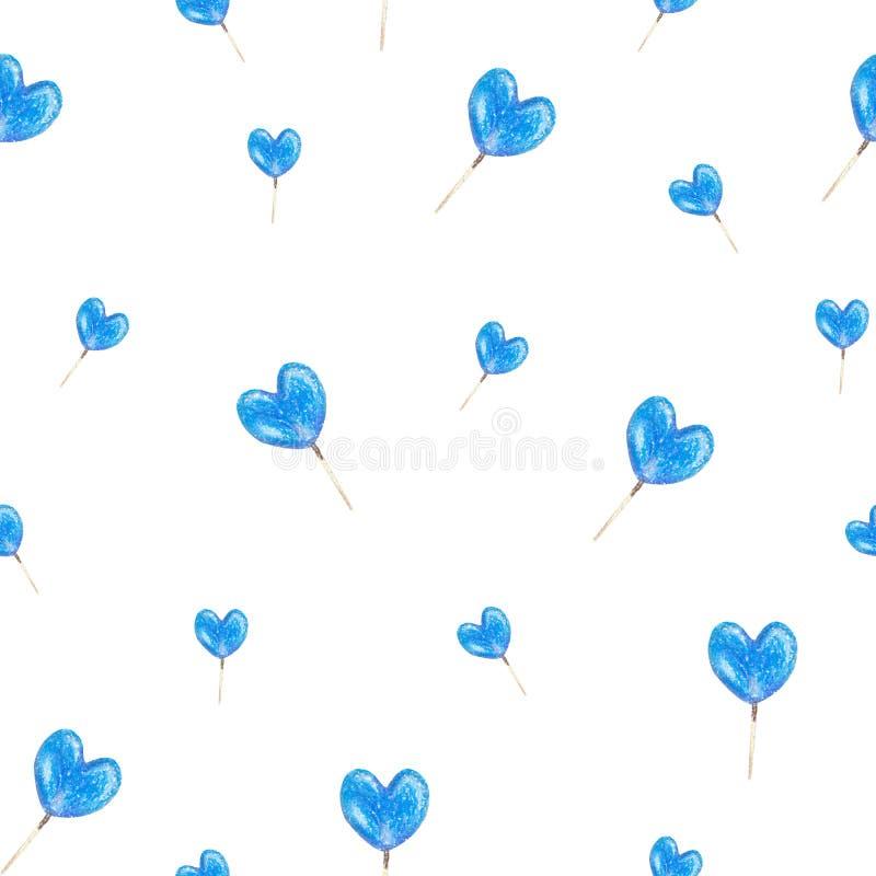 油柔和的淡色彩做的手拉的蓝色心脏棒棒糖的无缝的纹理 r 向量例证