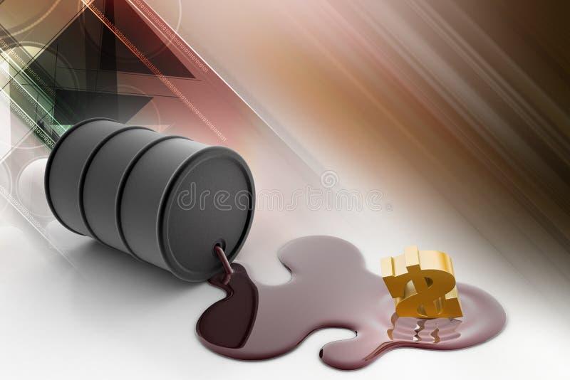 油桶倾吐与美元的油 向量例证