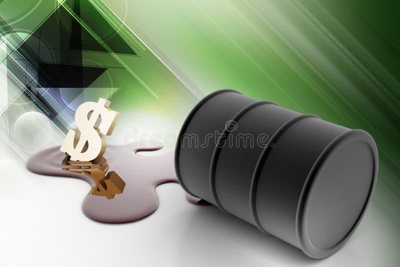 油桶倾吐与美元的油 皇族释放例证