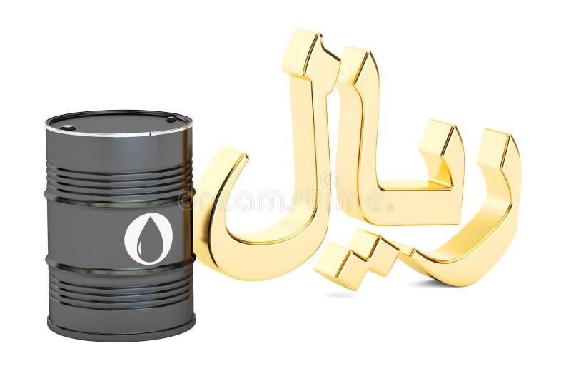油桶和沙特里亚尔标志, 3D翻译 皇族释放例证