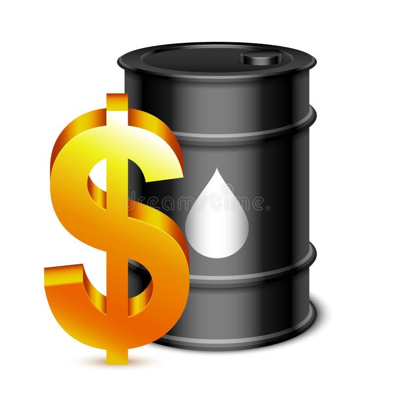 油桶和美元的符号 皇族释放例证