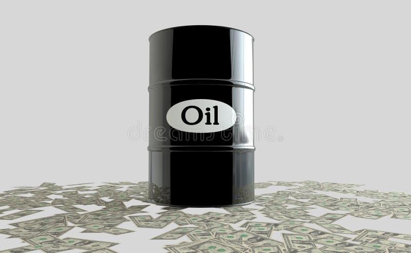 油桶在白色背景的 到达天空的企业概念金黄回归键所有权 美元 美国 库存例证