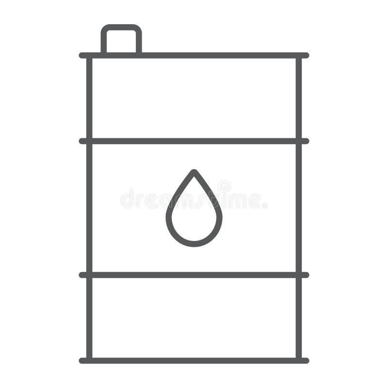 油桶稀薄的线象,容器和产业,油箱标志,向量图形,在白色的一个线性样式 库存例证