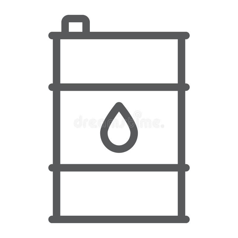 油桶线象,容器和产业,油箱标志,向量图形,在白色背景的一个线性样式 皇族释放例证