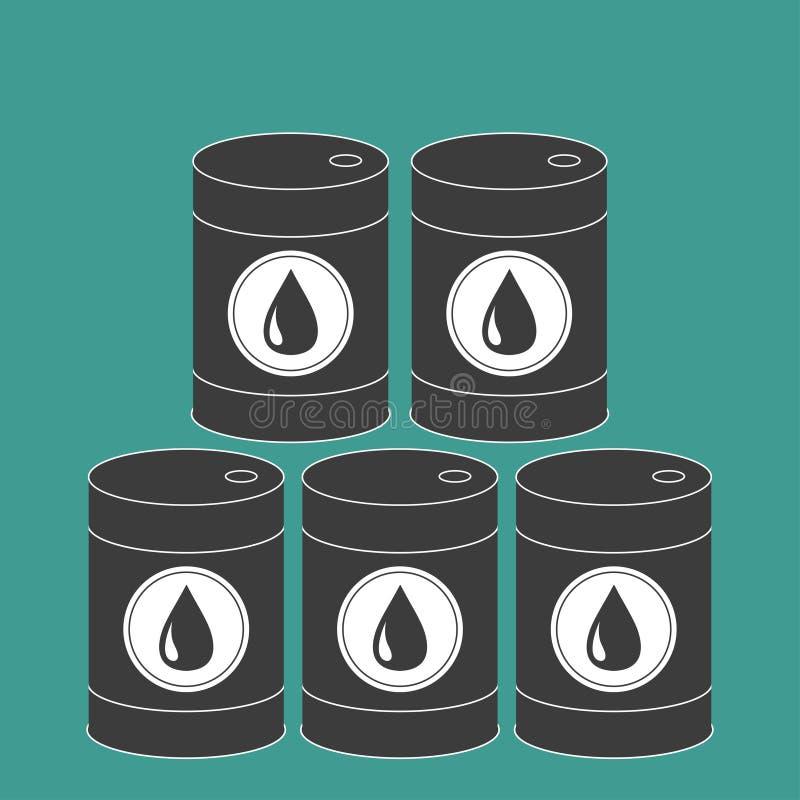 油桶设置了与油下落标志象 查出 绿色背景 油小滴 平的设计 皇族释放例证