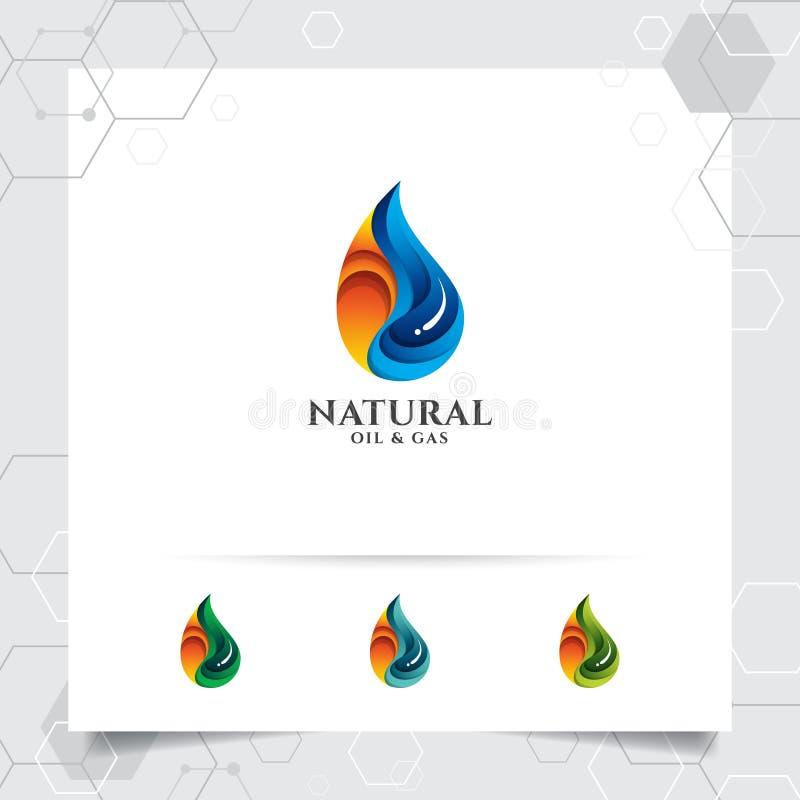油气商标与火燃烧的概念和油小滴象的设计传染媒介采矿业和燃料处理的 库存例证