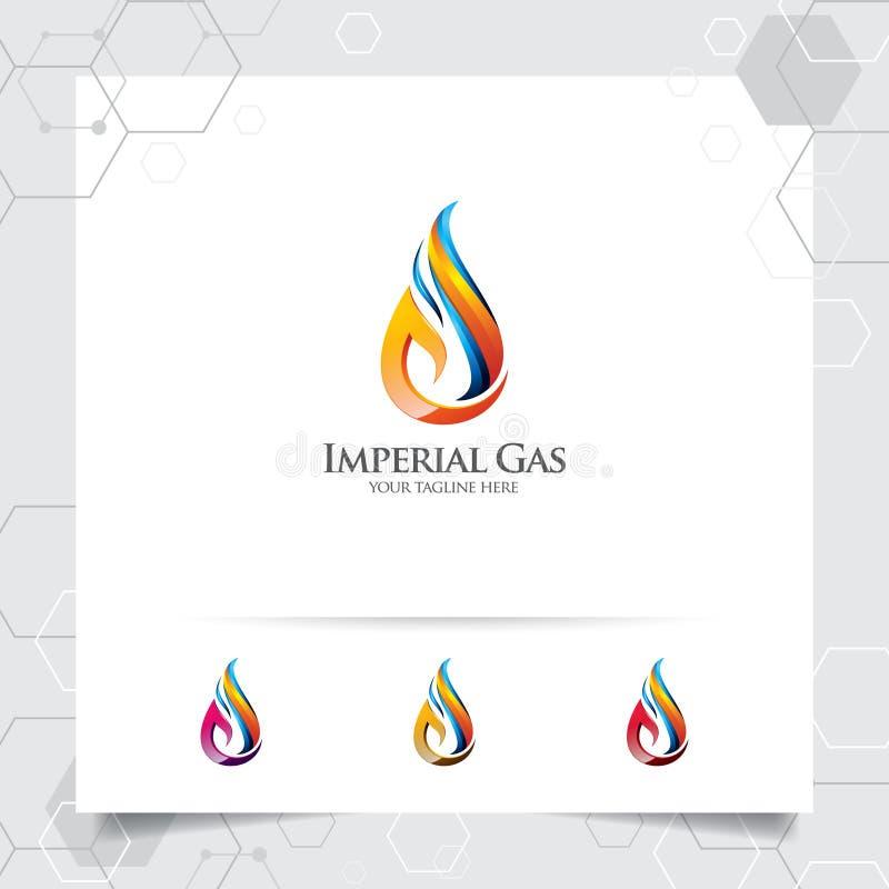 油气商标与火燃烧的概念和油小滴象的设计传染媒介采矿业和燃料处理的 向量例证